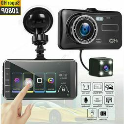 "1080P 4"" Dual Lens Touch Screen Car DVR Dash Cam Recorder Fr"