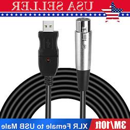 10ft Universal XLR Female to USB Male Microphone Cable Adapt