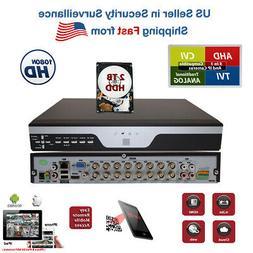 16 Channel H264 DVR with Hard Drive CCTV HD AHD TVI CVI Secu