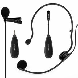 2.4G Wireless Headset+Lavalier Microphone Mics with Voice Am