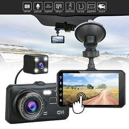 "4"" 1080P Dual Lens Touch Screen Car DVR Dash Cam Recorder Fr"