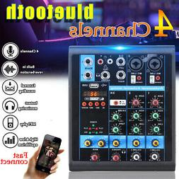 4 Channel USB Audio Mixer Mixing Console with bluetooth Reco