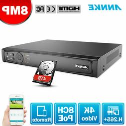 ANNKE 4CH/8CH/16CH 8MP Network Video Recorder Security 4K NV