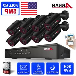 5MP PoE Security Camera System 8CH NVR Smart Home Kit 2TB HD