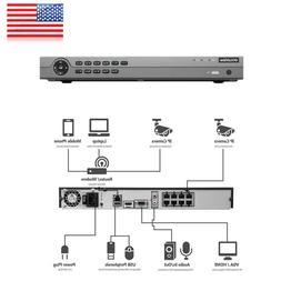 8CH 4K UHD H.265 NVR DVR 8 PoE Ports Recorder For Hikvision