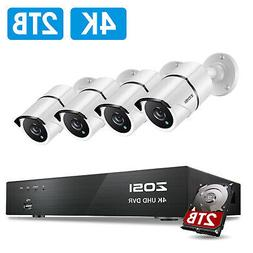 ZOSI 4K H.265+ Security Camera System with 2TB Hard Drive 8C
