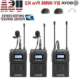 BOYA BY-WM8 Pro-K2 UHF Wireless Microphone Audio Recorder fo