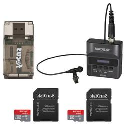 Tascam DR-10L Recorder and Lavalier Mic with 2 32GB Micro SD