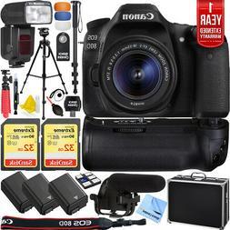 Canon EOS 80D DSLR Camera w/18-55mm Lens Pro Memory Triple B