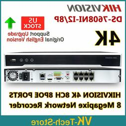 HIK Original NVR Recorder DS-7608NI-I2/8P 4K 12MP 8CH 2SATA