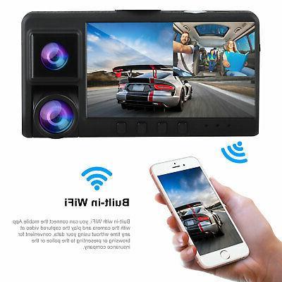 WiFi 1080P Dual Lens Front+Inside Car Vehicle Dash Recorder