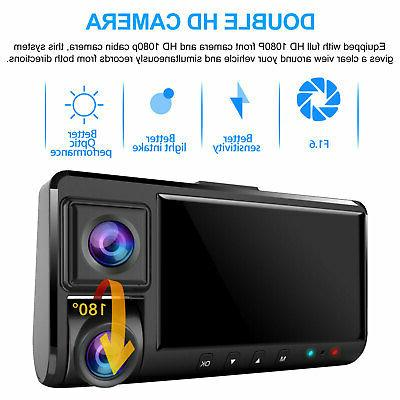 WiFi Dual Front+Inside Car DVR Vehicle Recorder