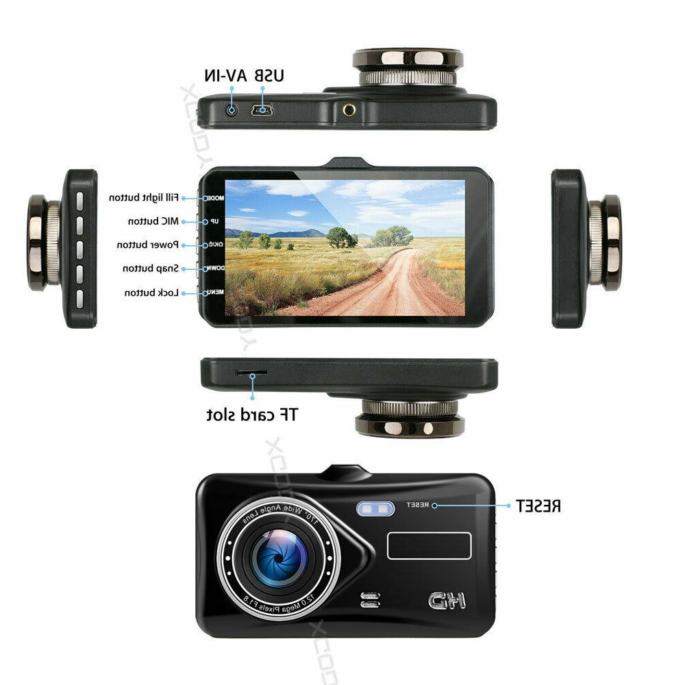 "1080P 4"" Touch Screen Car DVR Dash Recorder Front and Rear Camera"