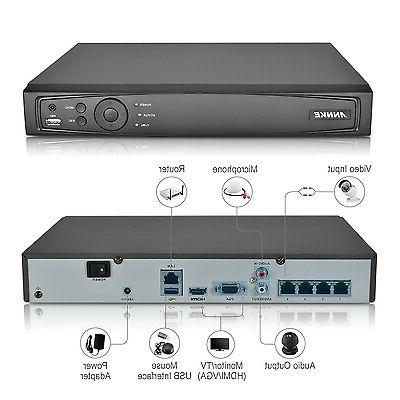 ANNKE 6MP POE 1080P Security Network Video Recorder HDMI Motion 4T