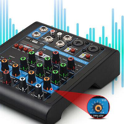 4 Channel Mixer bluetooth 48V Power