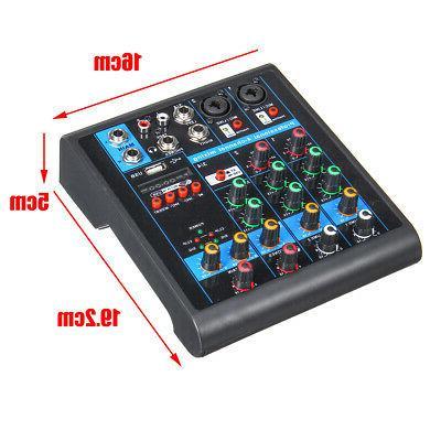 4 Mixer Mixing Console with bluetooth 48V Phantom Power