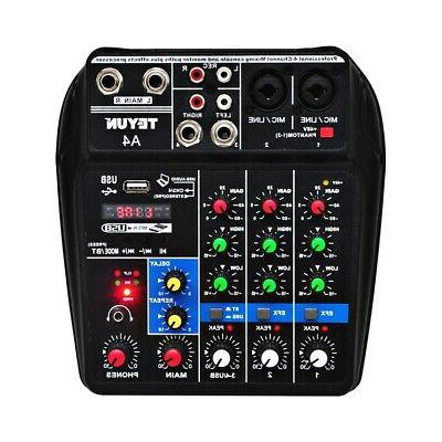 4 Channel Mixer Mixing Bluetooth Power