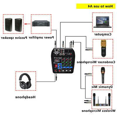 4 Channel USB Mixer Console Bluetooth Record Phantom Power