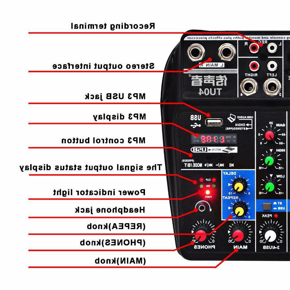 4 Audio Mixer Mixing Console Bluetooth Power