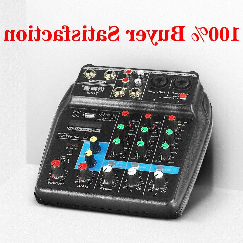 4 USB Mixer Mixing Bluetooth Record Phantom Power