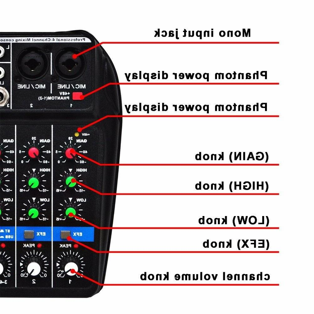 4 Channel Mixer Console with Bluetooth Record Phantom Power