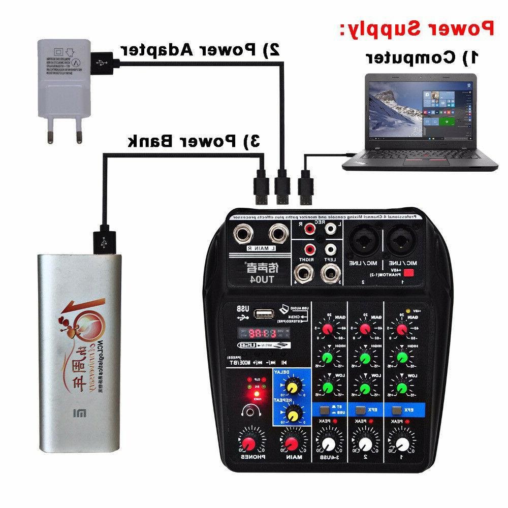 4 Channel Mixer Bluetooth Power