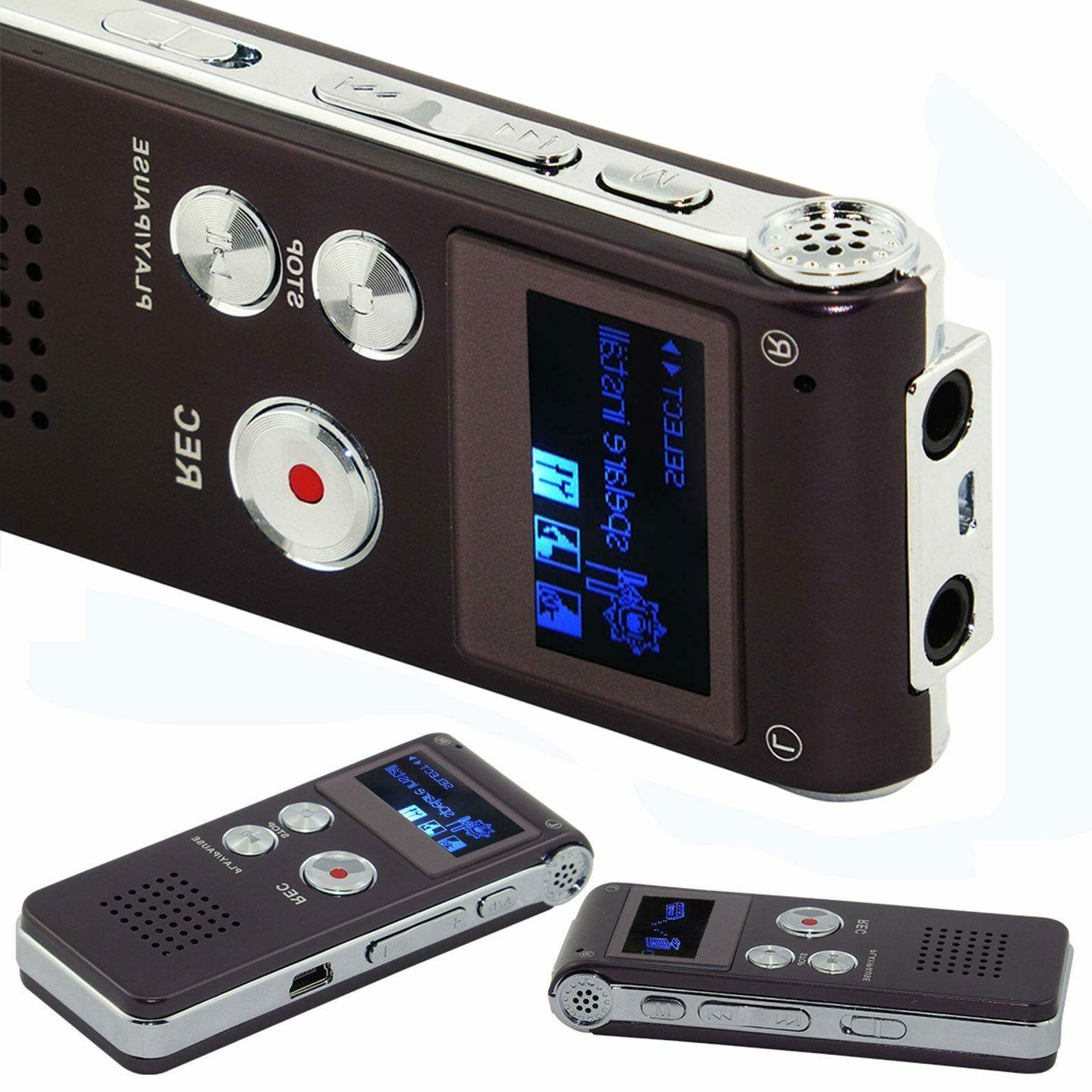 8GB USB Rechargeable Digital Sound Voice Recorder Dictaphone Player