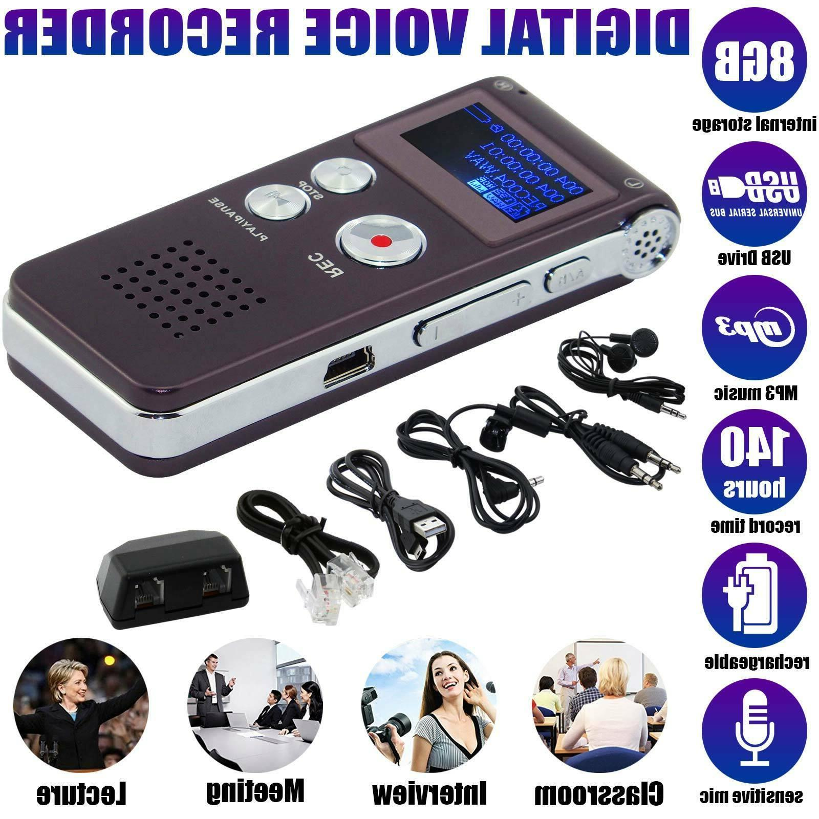 8GB Sound Recorder Dictaphone MP3 Player