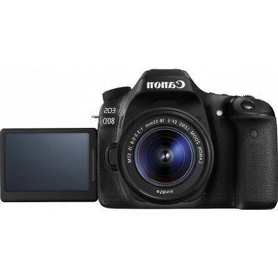 Canon Camera w/18-55mm Lens Memory Triple Battery Kit