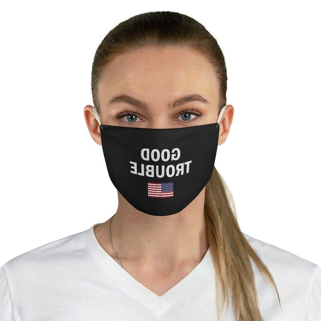 Good Trouble US flag John Lewis Black 100% Polyester Mask