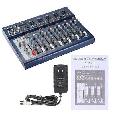 New F7-USB 7-Channel Mixer Console with USB for DJ