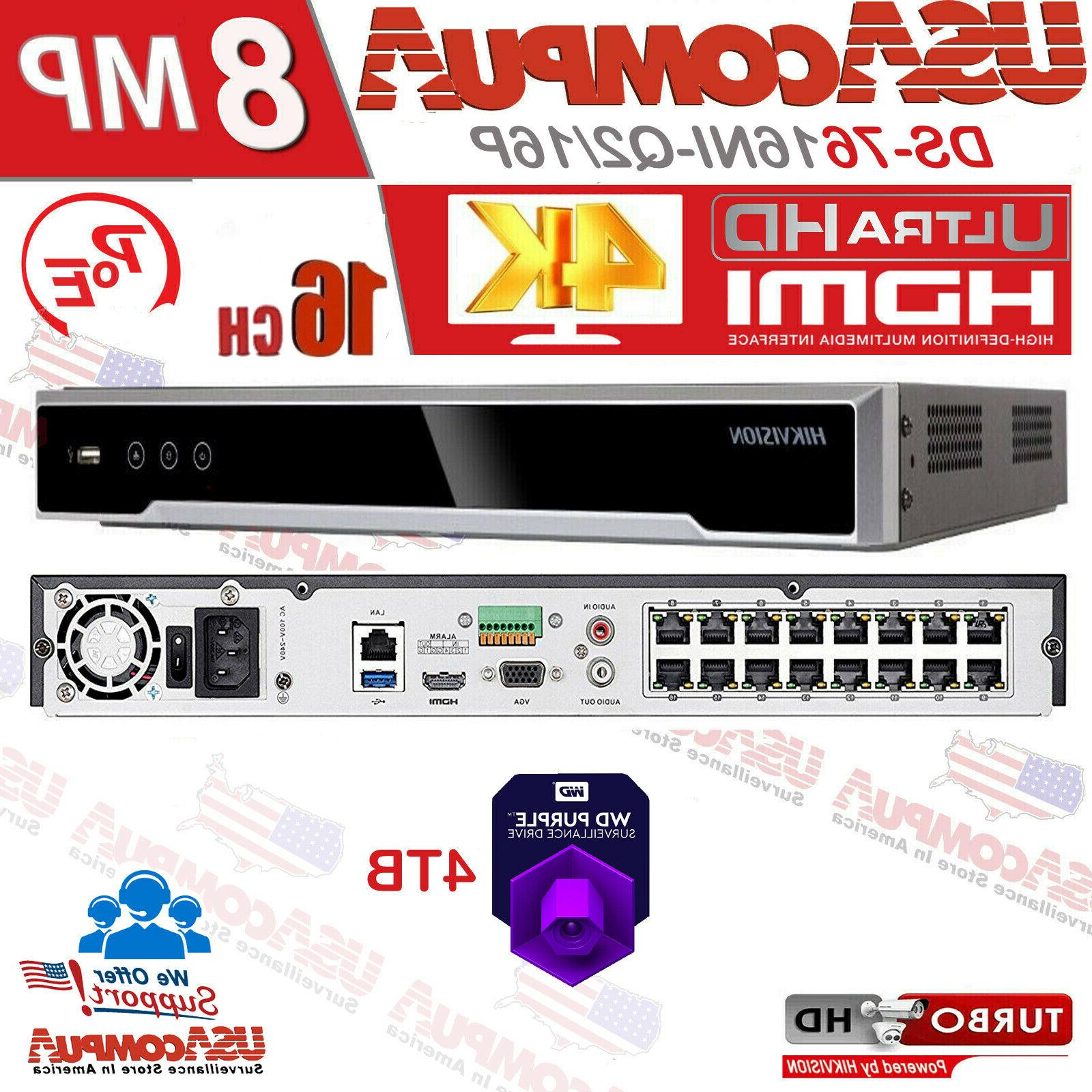 nvr 16channel 16ch poe 4k ds 7616ni