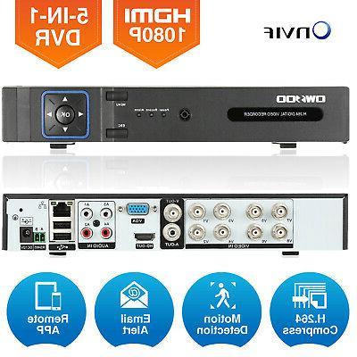 OWSOO Onvif 8CH 1080P NVR TVI CVI AHD DVR 5in1 Surveillance
