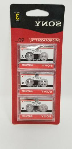 Sony Microcassette Blank Tapes 90 Minute Dictation 3 Pack Fo