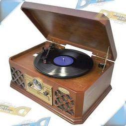 NEW PYLE B+T Wireless AM/FM 3-Speed Turntable/CD/Cassette Re