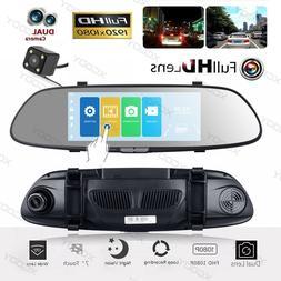 New Dual Lens HD 1080P 7'' For Car Rearview Mirror Dash Cam