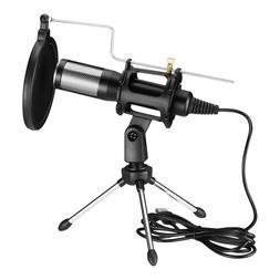 usb condenser microphone w tripod stand audio