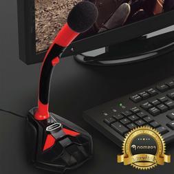 USB Microphone Audio Recording LED Mic Studio Gaming PC Desk